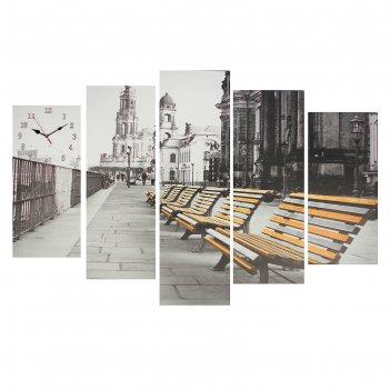 Часы настенные модульные «скамейки», 80 x 140 см