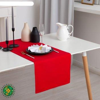 Дорожка на стол этель 40х140, саржа, цвет красный, 100% хл