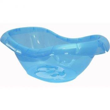 Детская ванночка голубая прозрачная лотос с рисунком 2589
