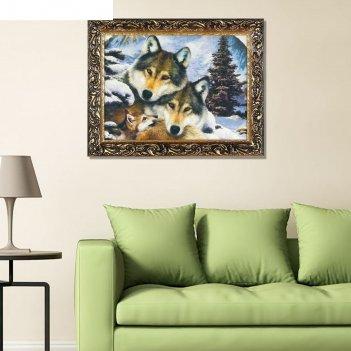 Гобеленовая картина семья волков