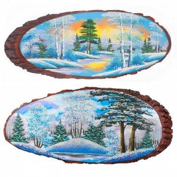 Панно на срезе дерева зима горизонтальное 55-60 см