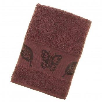 Полотенце махровое fiesta cotonn butterfly 70*140см сливовый 500гр/м, хлоп