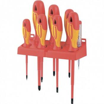 Набор отверток диэлектрических до 1000 в, 8 шт, тестер, crmo, двухкомпонен