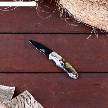 Нож перочинный складной медведь на охоте, лезвие 6,5 см