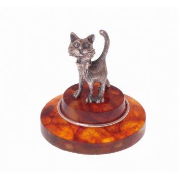 Сувенир из янтаря веселый котёнок