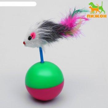 Игрушка-неваляшка мышь на шаре, микс цветов