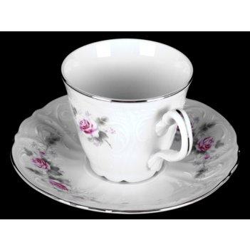 Набор для чая роза серая платина на 6перс.12пред. выс. н/н.
