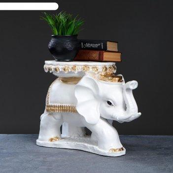 Фигура-подставка слон звезда бело золотой