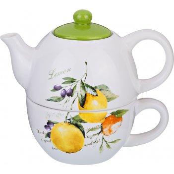 Набор из 2 пр. итальянские лимоны чайник 380 мл. и чашка 350 мл. (кор=16 ш