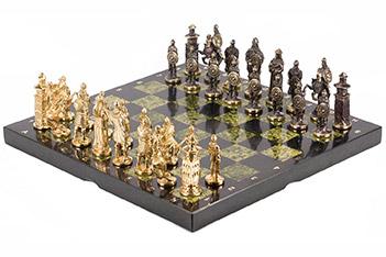 Шахматы богатыри змеевик бронза 400х400 мм 14 кг