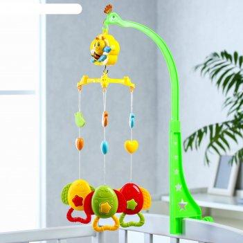 Мобиль музыкальный «пчелка. рыбки», 3 игрушки, заводной
