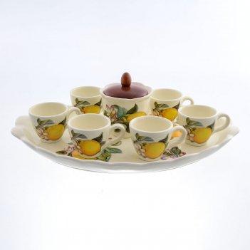 Кофейный сервиз caroline artigianato лимоны 9 предметов