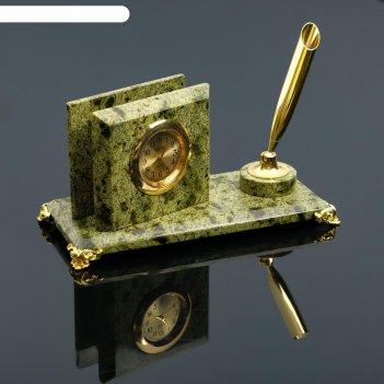 Визитница «змеевик»: подставка для ручки, часы, микс