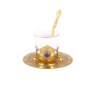 Набор кофейный лазурит (тарель, чашка, ложка)