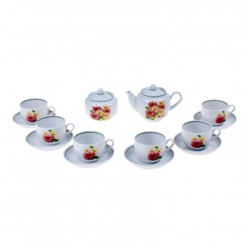 Сервиз чайный розовые герберы, 14 предметов: 6 чашек, 6 блюдец, чайник, са