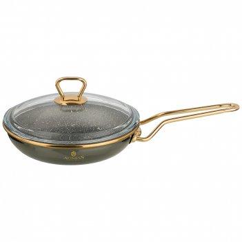 Сковорода agness эмалированная со стекл. крышкой и антипригар. мраморным п