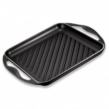 Сковорода - гриль, размер: 24 х 24 см, материал: чугун, цвет: черный, le c