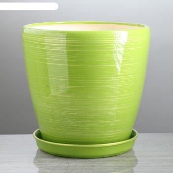 Горшок для цветов грация глянец, салатово-золотой, 10 л