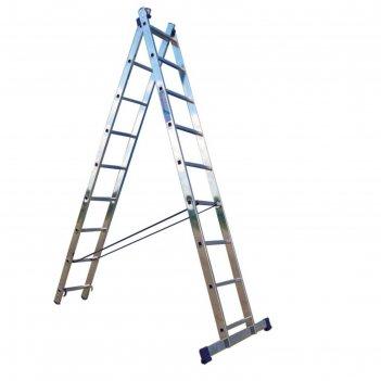 Лестница двухсекционная ремоколор 63-2-009, универсальная, алюминиевая, 9