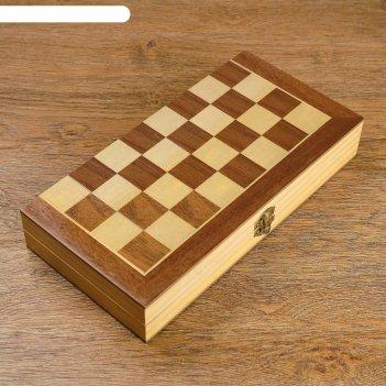 Шахматы деревянные, доска из сборных элементов, 30 x 30 см, фигуры в подло