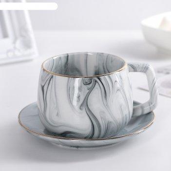 Чайная пара «мрамор»: чашка 250 мл, блюдце 13,5 см, цвет серый