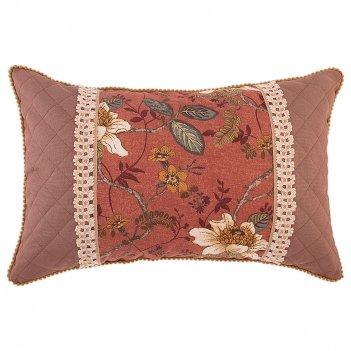 Подушка магнолия 40х60 см, 100% хлопок, коричневый, кружево