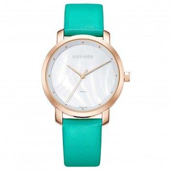 Часы наручные женские gepard, перламутровый циферблат, бирюзовый ремешок,