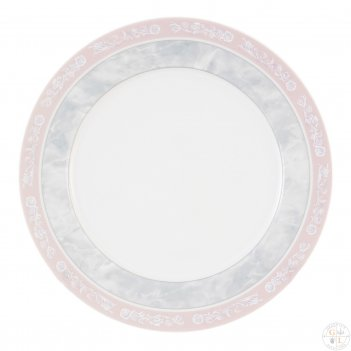 Набор тарелок thun яна серый мрамор с розовым кантом 17 см(6 шт)