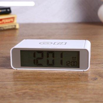 Электронные часы-будильник, выключение переворотом, подсветка, дата, 2ааа,