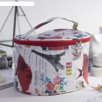 Косметичка-сундучок на молнии города, 1 отдел, ручка, цвет белый/красный