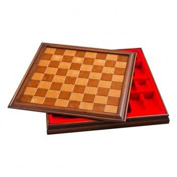 Шахматная доска с конт корич, дерево,48х48см