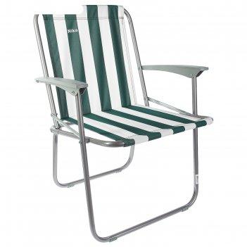 Кресло складное, кс4, 57,5 х 61,5 х 74 см, цвет зелёный/белый