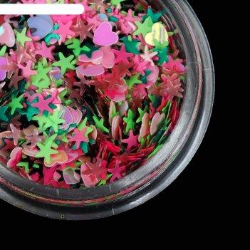 Пайетки для ногтей «ассорти», цвет розовый/зелёный/светло-зелёный/чёрный