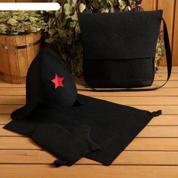 Набор банный портфель тёмный шапка,коврик,рукавица буденовец