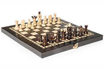 Шахматы складные польские, фигуры бук, доска береза с выжиганием 35х35см