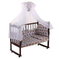 Комплект в кроватку мишка, 7 предметов, голубой, рисунок микс