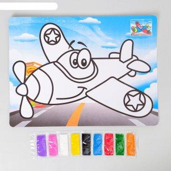 Фреска с цветным основанием самолет 9 цветов песка по 2 г
