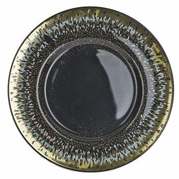 Блюдо сервировочное соколиный глаз d=33см. h=2,5см. (стекло) (транспортная