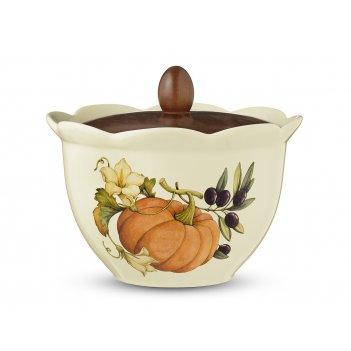 Банка с деревянной крышкой 17,5см artigianato ceramico тыква