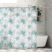 Штора для ванной бабочки с ромашками, 180х180 см, peva