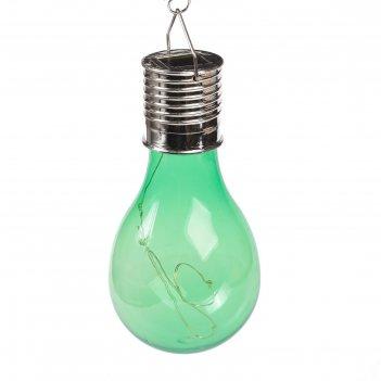 Фонарь садовый на солнечной батарее лампочка зеленая, 4 led, пластик, на п