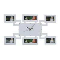 Часы настенные +6  фоторамки прямоугольные белые 60*35см (без стекла)