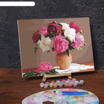Картина по номерам на холсте с подрамником «букет в глиняном горшке», 40х3