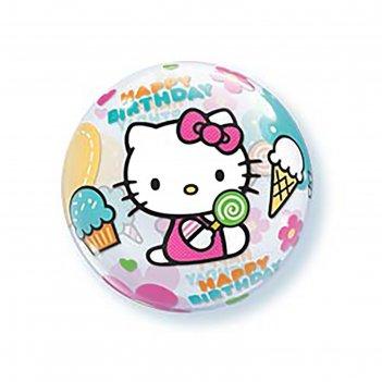 Шар полимерный 22 bubble с днем рождения hello kitty, прозрачный q