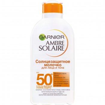 Солнцезащитное молочко для лица и тела garnier ambre solaire, spf 50+, вод