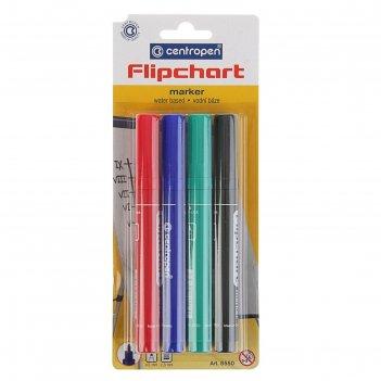 Набор маркеров centropen 8550/4 для флипчарта, 4 цвета 2.5 мм, водные
