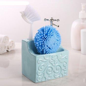 Дозатор для жидкого мыла с подставкой для губки и щетки камелия, цвет голу