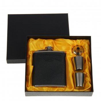 Подарочный набор 4 в 1 командор, серый: фляжка 210 мл + воронка и 2 рюмки