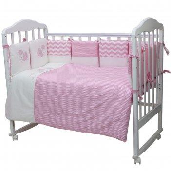 Комплект в кроватку «долли», 6 предметов, цвет розовый