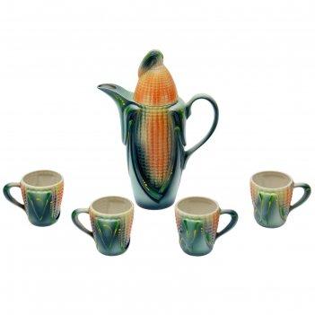 Молочный набор кукуруза цветная кувшин 2,5 л + 4 чашки 0,25 л
